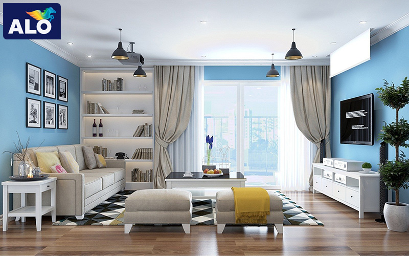 Màu xanh dương + màu trắng tạo không gian hiện đại, tinh tế