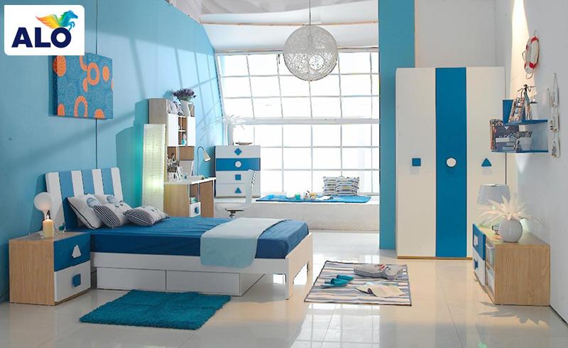 Màu xanh dương kèm bạc hà tạo không gian nhã nhặn, nữ tính