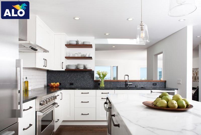 Màu trắng thể hiện sự thuần khiết, sạch sẽ rất phù hợp với căn bếp