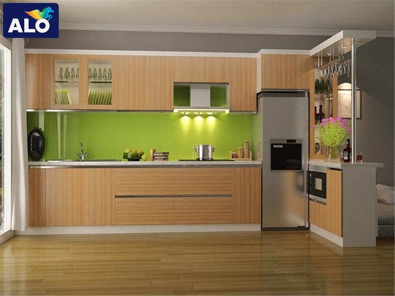 Xanh lá gam màu phù hợp với căn phòng bếp