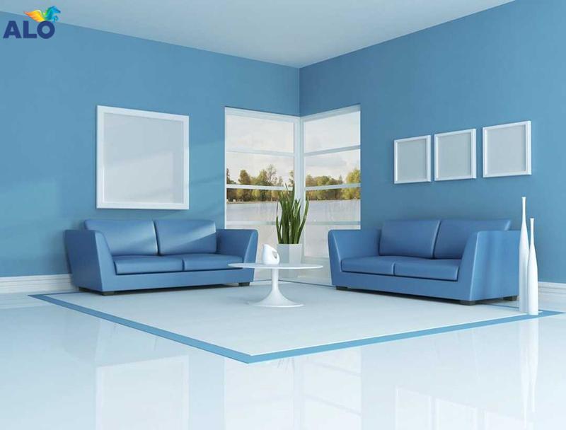 Xanh da trời tạo sự mát mẻ cho không gian phòng khách