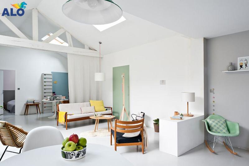 Phòng khách theo phong cách hiện đại chọn gam màu trung tính