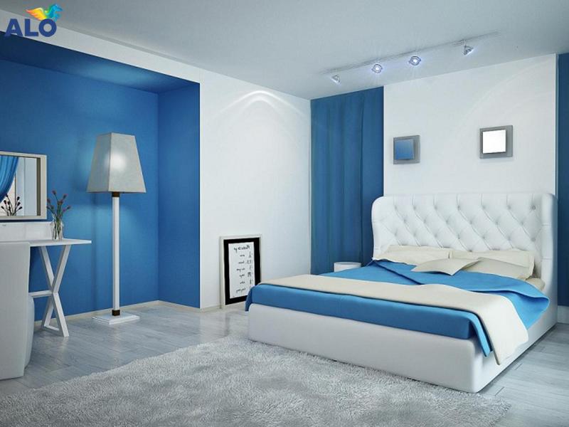 Sơn màu xanh cho phòng ngủ tạo cảm giác thư thái, thoải mái và mát lạnh