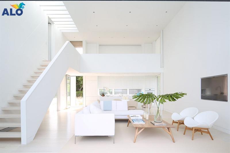Sơn tường nhà màu trắng phù hợp với nhiều phong cách