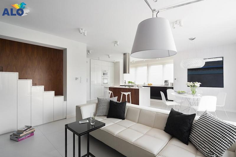 sơn nhà màu trắng làm nền cho đồ nội thất tỏa sáng