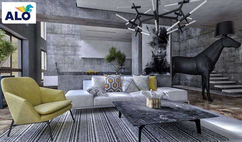Tường màu xám và đồ nội thất màu xanh