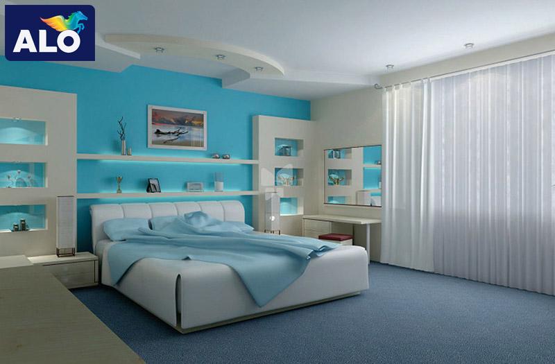 Màu xanh tạo chiều sâu cho căn phòng