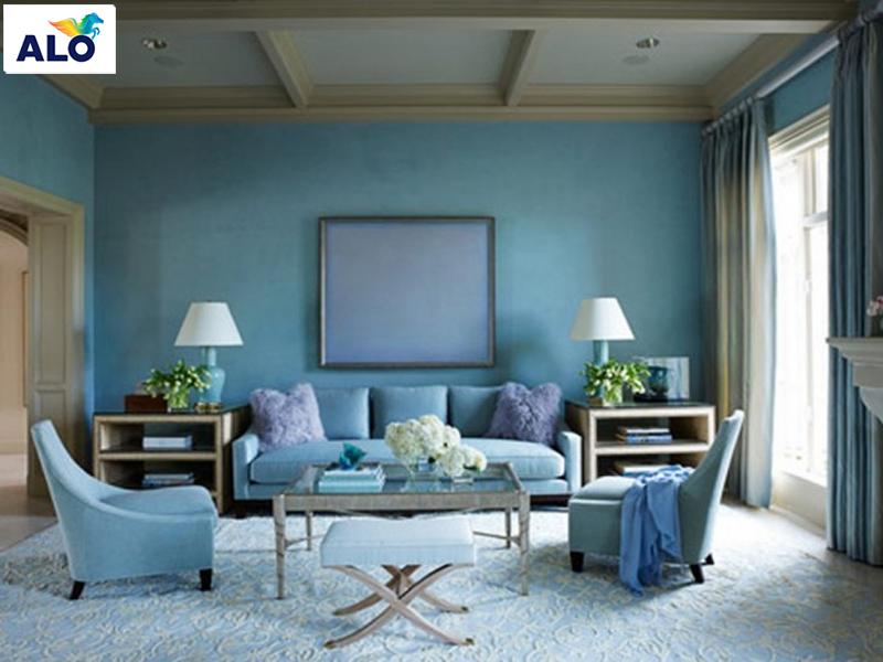 Sơn tường màu xanh bạc hà dành cho phòng khách
