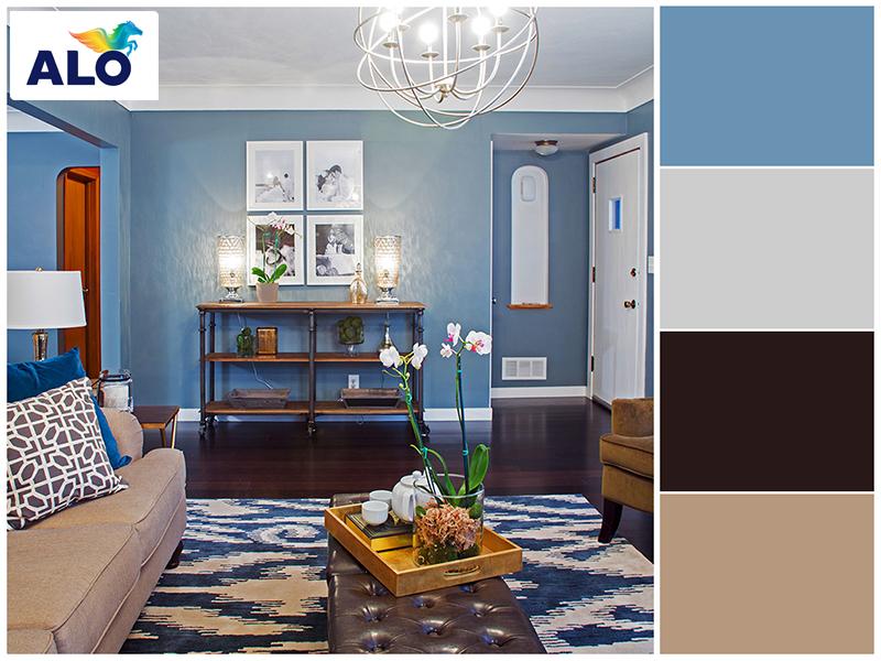 Phối màu xanh ghi xám đem lại cảm giác mát mẻ, dễ chịu cho căn phòng