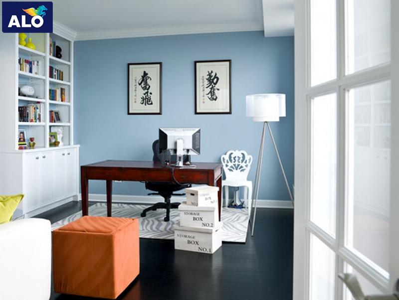 Sử dụng sơn màu xanh da trời cho phòng làm việc