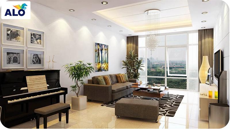 Phòng khách chung cư lên lựa chọn những màu sắc nhẹ nhàng, tươi sáng