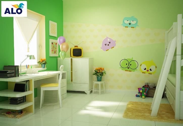 Gam màu xanh được đưa vào không gian phòng của bé