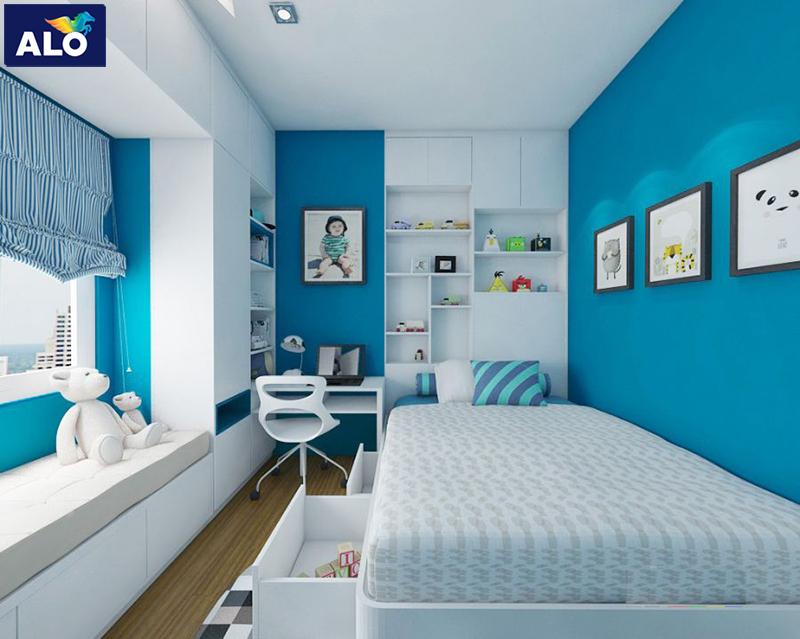 Gam màu xanh da trời mang lại sự mát mẻ, nhẹ nhàng cho căn phòng của bé