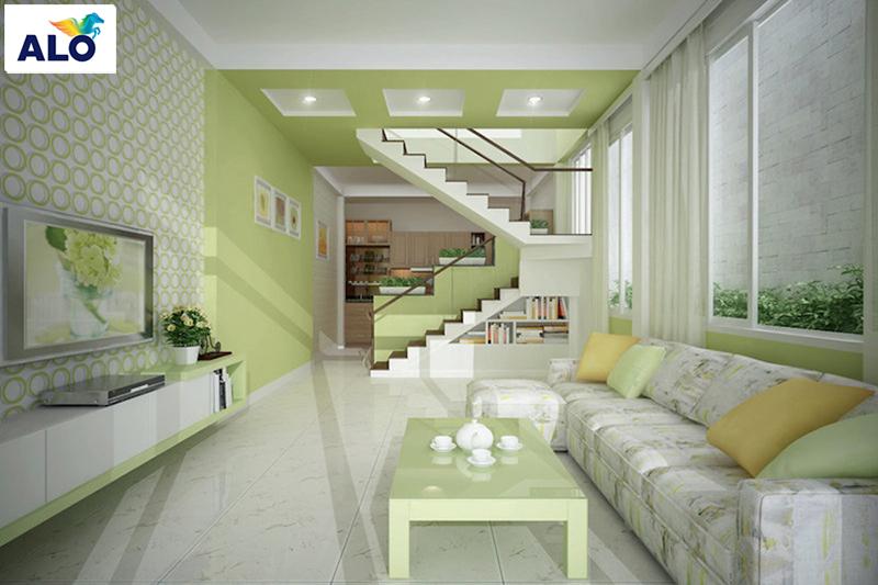 Màu xanh lá giúp làm mát không gian, tăng diện tích căn phòng