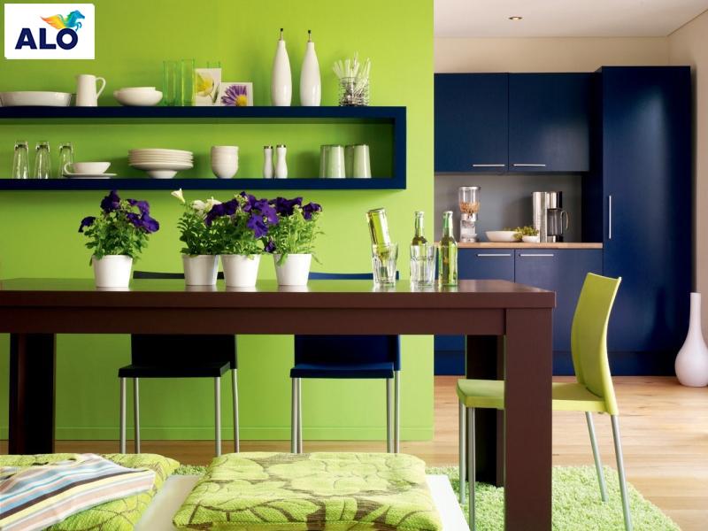 Một góc nhỏ của bếp sử dụng gam màu xanh lá tạo sự cuốn hút cho toàn bộ không gian căn bếp