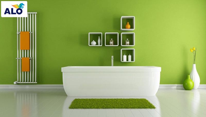 Phòng tắm sử dụng màu xanh lá cũng là một ý tưởng tuyệt vời dành cho không gian nhà bạn