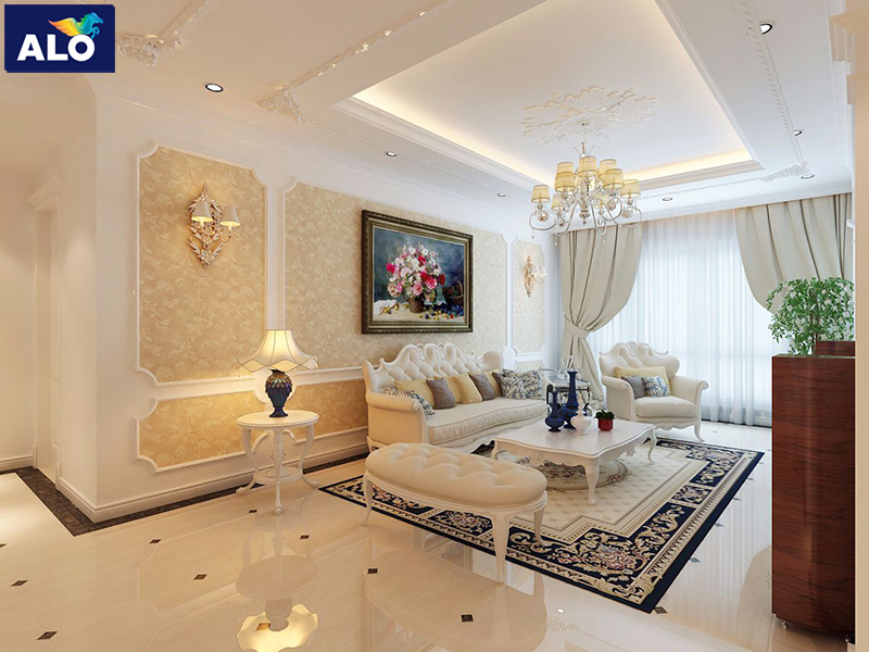 Thiết kế phòng khách theo phong cách tân cổ điển