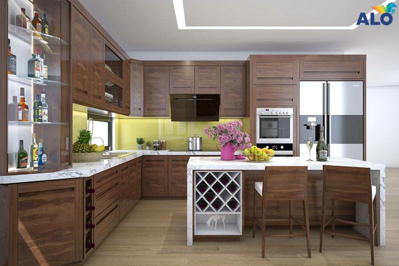 Phòng bếp lên trang trí bằng chất liệu gỗ tự nhiên