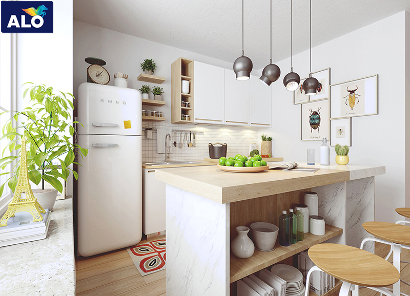 Lựa chọn gam màu trắng giúp bạn sở hữu không gian đẹp độc đáo
