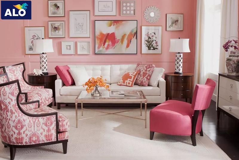 Sơn phòng khách màu hồng phấn tạo không gian rộng hơn, thoáng mát