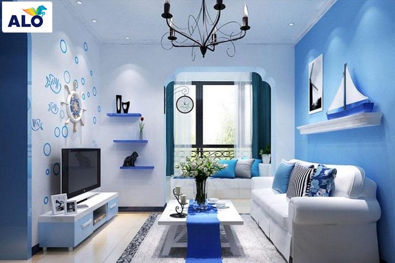 Nhà theo hướng tây gia chủ mệnh Mộc hợp với màu xanh dương