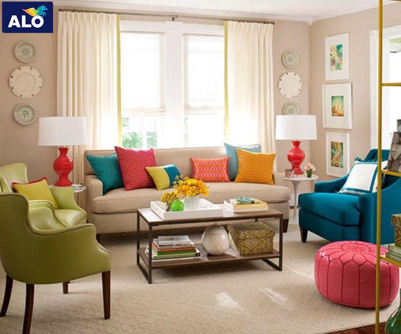 Lựa chọn màu gam tường theo ý thích kết hợp với bộ sofa đầy màu sắc