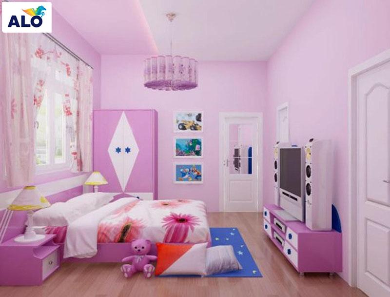 Phòng bé gái thích hợp với các gam màu sơn tường nhẹ nhàng