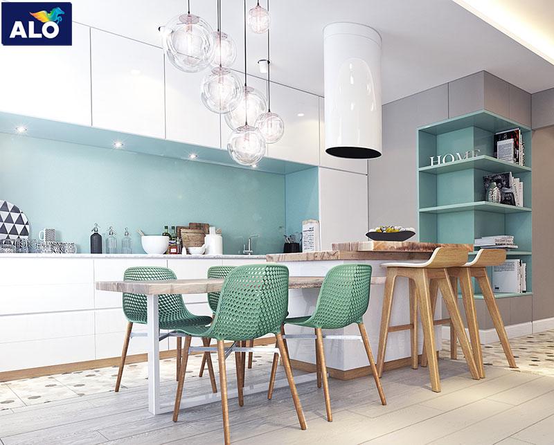 Màu trung tính giúp căn bếp mát mẻ hơn