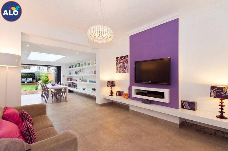 Sử dụng màu tím hợp lý tạo điểm nhấn cho căn phòng