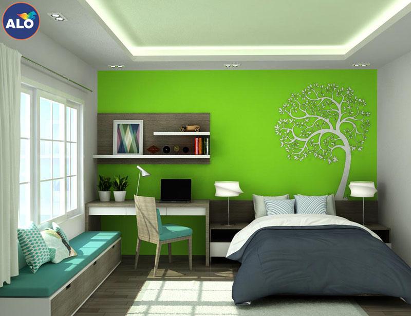 Màu xanh lá cây mang lại cảm xúc thư thái dễ chịu thích hợp cho phòng ngủ