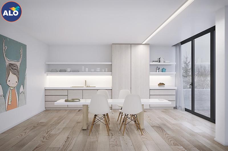 Gam màu trắng sáng làm nền cho nội thất tỏa sáng