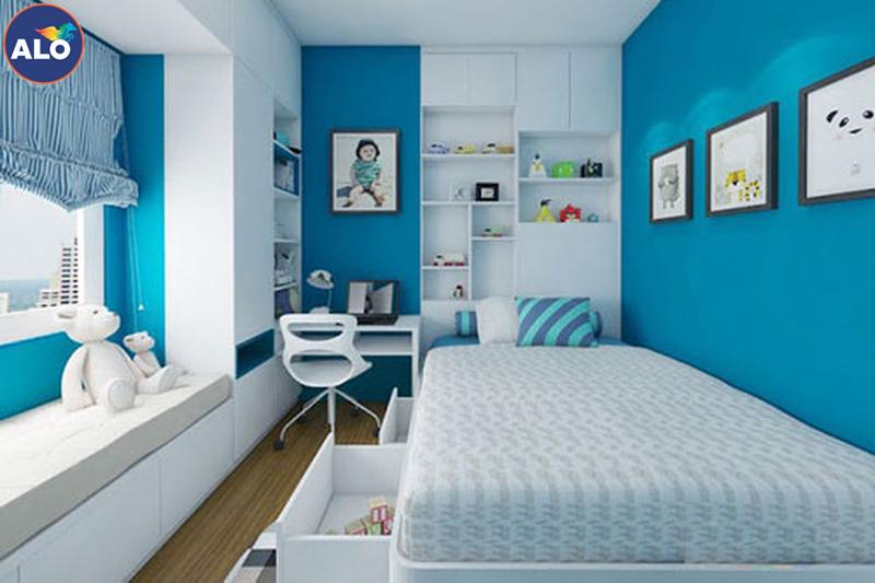 Sơn phòng ngủ màu xanh ngọc mang đến sự tươi mát
