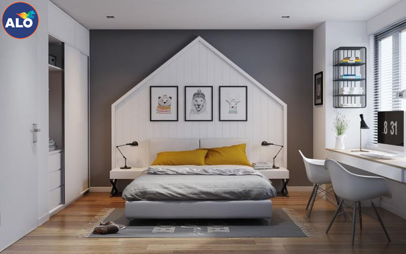 Sơn phòng ngủ với gam màu xám, ghi